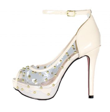 Peep Toe Meia Pata Week Shoes Vinil Transparente Spikes Gel
