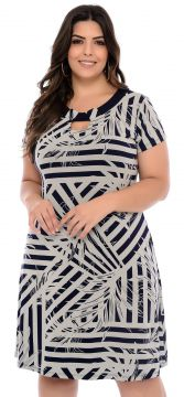Vestido Elegance All Curves Plus Size Azul Juliana Fajos