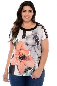 Blusa Elegance All Curves Plus Size Salmon Flower com Ilhós