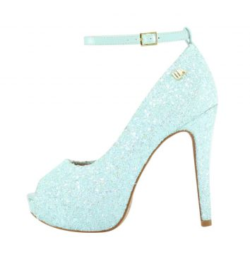 Peep Toe Meia Pata Week Shoes Glitter Tiffany Corte Lateral