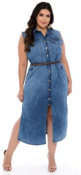 Vestido Elegance All Curves Chemise Jeans Plus Size azul co