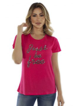 T-shirt CAVALLARI Just Be Free Bordada a Mão Pink CAVALLARI