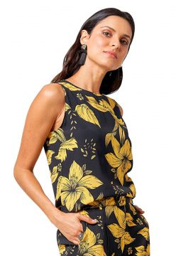 Regata MX Fashion de Viscose Estampada Aurora Amarelo/Preto