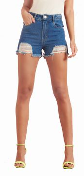 Short PKD Concept Hot Pant Barra Destroyed Jeans Azul PKD