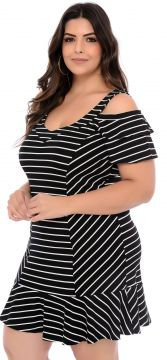 Vestido Elegance All Curves Ciganinha Plus Size Listrado Pr