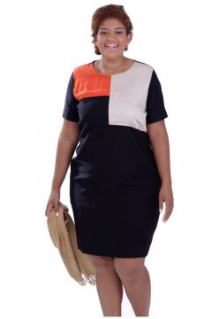Vestido Color Block Plus Size Vickttoria Vick Plus Size Pre