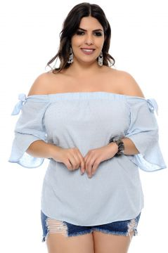 Blusa Art Final Plus Size Plimetis Azul Claro Art Final