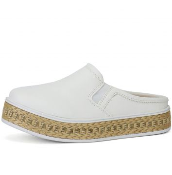 Tênis CR Shoes Casual Slip On Mule SapatoFran Branco e Palh