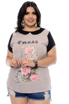 Blusa Art Final Plus Size Estampada Paris Cinza Art Final