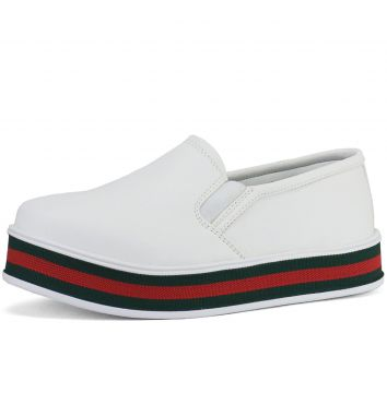 Tênis CR Shoes Casual Slip On Iate SapatoFran Branco e Verm