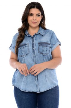 Camisa Jeans Plus Size Azul Cambos