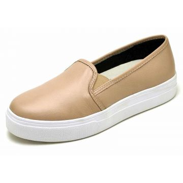 Slip On em Couro Dr Shoes Nude DR Shoes