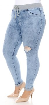 Calça Cambos Skinny Plus Size Sport Destroyed Azul Cambos