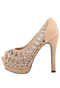 Sapato Peep Toe Meia Pata Week Shoes Strass Nobuck Nude Wee