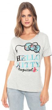Blusa Cativa Hello Kitty Paetês Cinza Cativa Hello Kitty