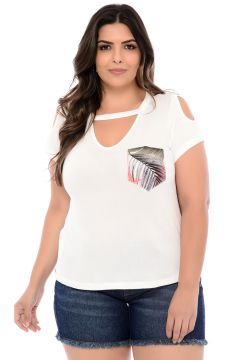 Blusa Elegance All Curves T-Shirt Off White Floral Costas E
