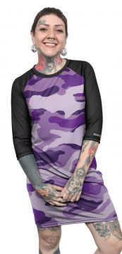Vestido Chess Clothing Estampado Camuflado Roxo Chess Cloth
