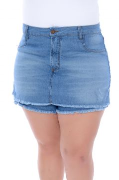 Short Saia Jeans Plus Size Delavê Chic Azul Cambos Cambos