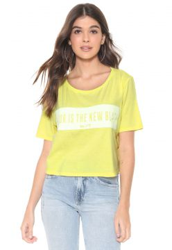 Camiseta Cropped My Favorite Thing(s) Neon Lettering Amarel