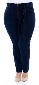 Calça Jeans Plus Size Skinny Cropped Satin Azul Cambos Camb