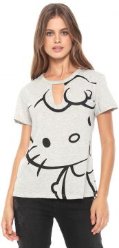 Blusa Cativa Hello Kitty Recorte Cinza Cativa Hello Kitty