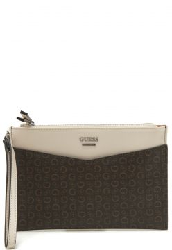 Clutch Guess Monograma Marrom/Bege Guess