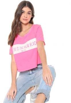 Camiseta Cropped My Favorite Thing(s) Neon Lettering Pink M