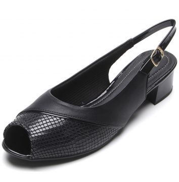 Peep Toe Piccadilly Cobra Preto Piccadilly