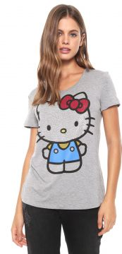 Blusa Cativa Hello Kitty Hotfix Cinza Cativa Hello Kitty