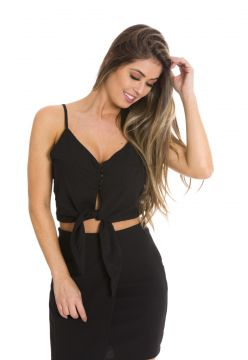 Regata Cropped Beautifull Hit Alças Preto Beautifull Hit