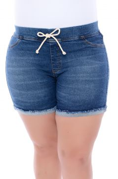 Short Jeans Plus Size Stretch Blue Cambos Cambos