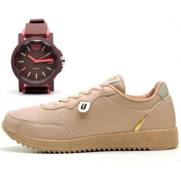 Tênis OUSY SHOES Jogger Casual Mais Relógio Nude OUSY SHOES