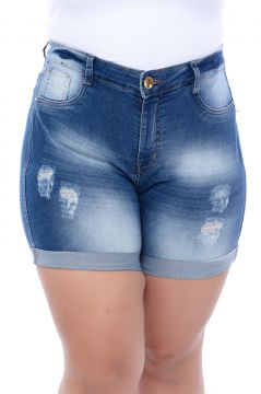 Short Jeans Xtra Charmy Modelador Destroyed Azul Xtra Char