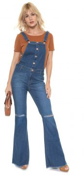 Jardineira Jeans MOB Flare Destroyed Azul MOB