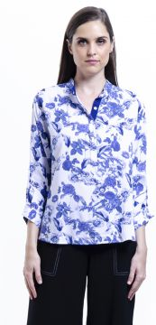 Camisa 101 Resort Wear Polo Viscose Estampada Floral Azul 1