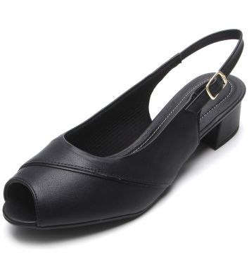 Peep Toe Piccadilly Liso Preto Piccadilly
