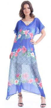 Vestido 101 Resort Wear Longo Estampado Azul 101 Resort Wea