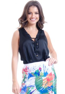 Regata 101 Resort Wear Babado Decote Preto 101 Resort Wear