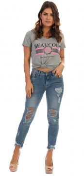 Blusa Dioxes T-shirt com Estampa Cinza Dioxes Jeans
