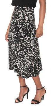 Saia Facinelli by MOONCITY Midi Estampada Cinza/Preto Facin