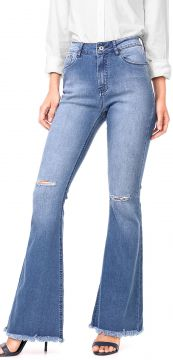 Calça Jeans MOB Flare Destroyed Azul MOB