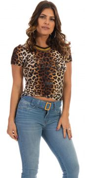 Blusa Dioxes com Estampa Animal Print Marrom Dioxes Jeans