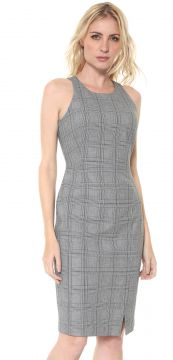Vestido Banana Republic Curto Plaid Bi Stretch Racer Neck S