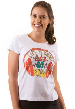 Camiseta iRun Baby Look Algodão Life is Short Lets Go Run B