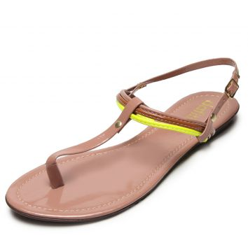 Rasteira DAFITI SHOES Tricolor Rosa DAFITI SHOES
