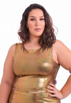 Blusa Amme Cropped Dourada Plus Size Amme All Curves