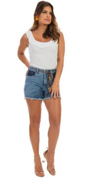 Short Jeans Dioxes Hot Pant Azul Dioxes Jeans