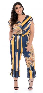 Macacão Pantacourt Plus Size Azul Fiore Elegance All Curves