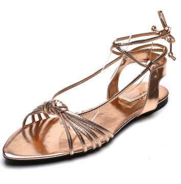 Rasteira DAFITI SHOES Metalizada Cobre DAFITI SHOES