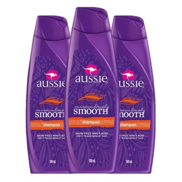 Kit com 3 Shampoos Aussie Miraculously Smooth 180ml Incolor